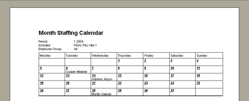 staffing calendar